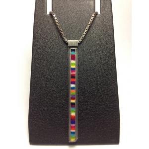 "Skinny Rectangle Pendant on 16"" Box Chain in Multicolor"
