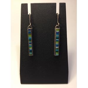 Skinny Rectangle Earrings Small- Blue/Green Palette
